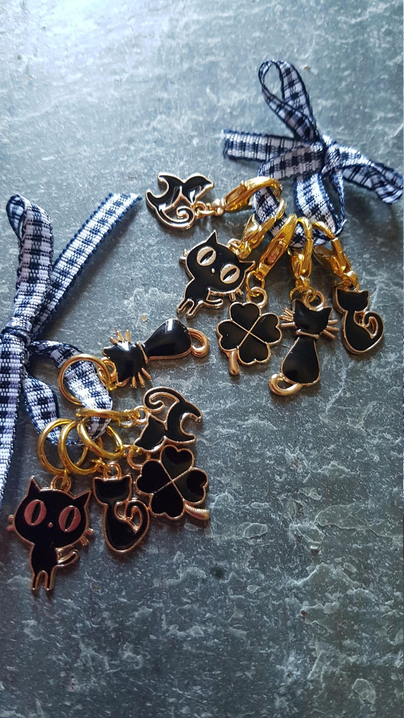 5 Knitting or crochet  stitch markers. Lucky image 0