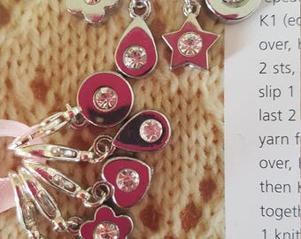 5 Knitting or crochet stitch markers. Sparkle and shine