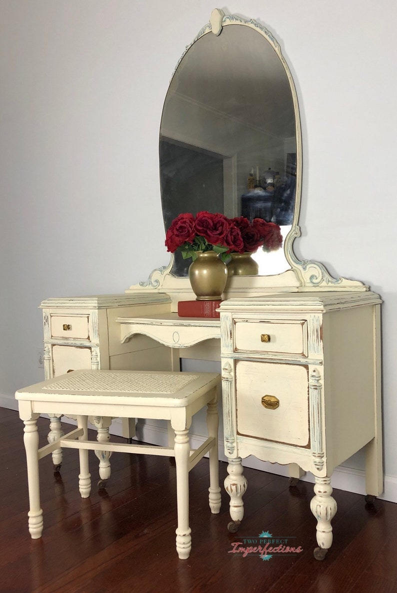 SOLD...SOLD...SOLD                                           Old White and Blue Plantation Vanity on Casters with Stool