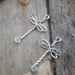 """""""Dragonfly key"""" earrings handmade in silver plated copper wire. Boho style, Gothic, medieval"""