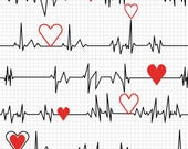 Windham - Calling all Nurses - Heart Beat - White - Cotton Fabric by the Yard 37302-2 photo
