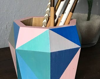 Pastel blue and pink pencil holder // Desk supplies organizer// Mother's day gift
