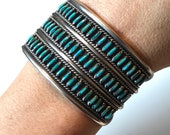 Vintage Unsigned Native American Sterling Silver Turquoise 3-row Needlepoint 1.5 quot Wide Southwestern Cuff Bracelet