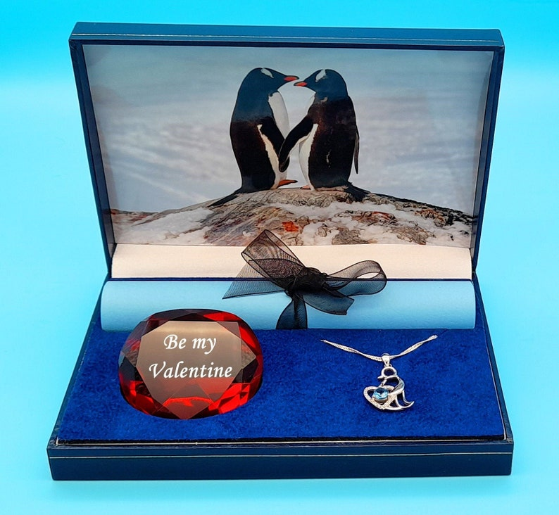 Personalisable penguin themed Valentines gift box Love on the Rocks  with choice of beautiful  penguin pendants
