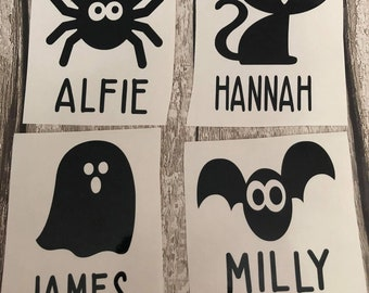 Personalised Halloween Vinyl Stickers - 4 designs to choose from Bat, Cat, Spider, Ghost for glasses, lunchboxes, treat boxes