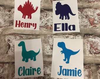 Personalised dinosaur name decal   DIY vinyl decal for water bottles or lunch boxes