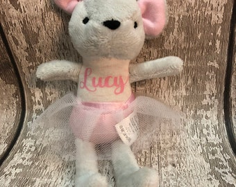 Personalised mouse soft toy with tutu- flower girl gift/birthday