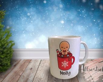 Personalised Christmas Gingerbread 11oz Mug secret Santa/Christmas gift