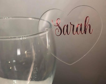 Personalised Acrylic Heart Place Setting/Holder Wedding - available in clear and white- Special introductory price