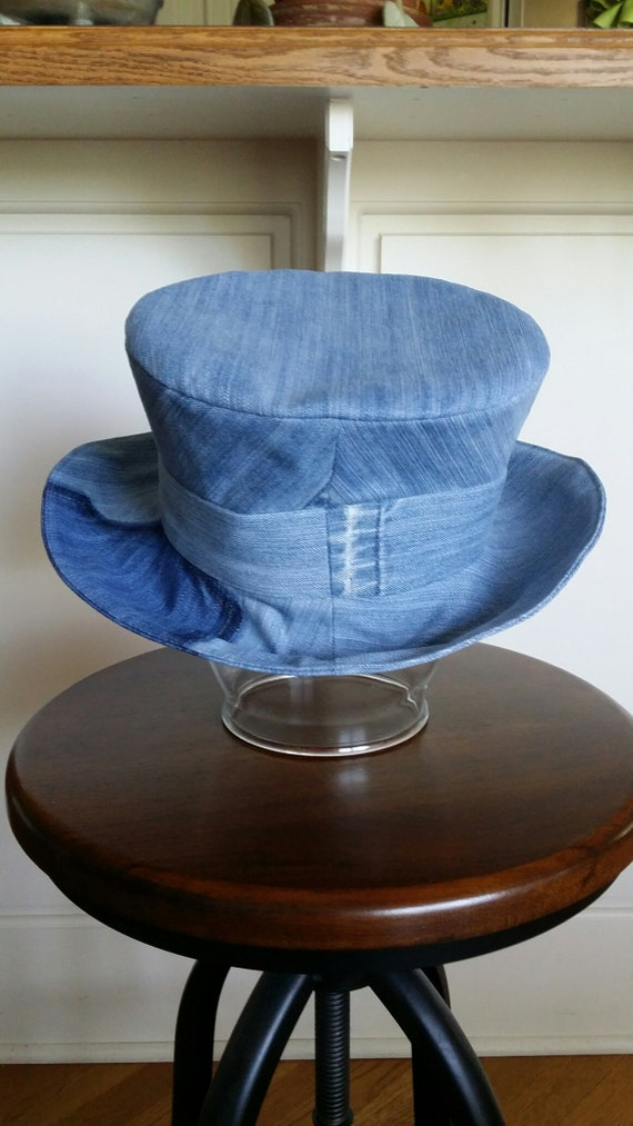 Up-cycled Faded-blue Denim Top Hat  2b11d46da4e2