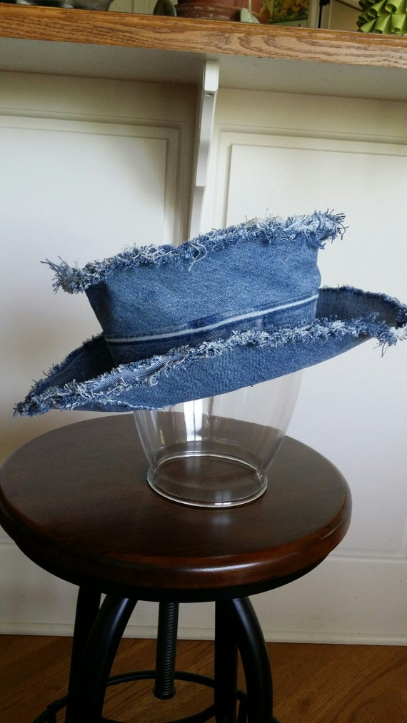 Up-cycled Faded-Blue Denim Top Hat with Frayed Edges  79b892ced27a