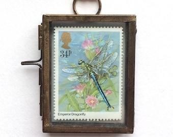 Libelle Geschenk - Libelle Dekor - Dragonfly-Wand-Kunst - Libelle Wand-Dekor - Natur-Liebhaber-Geschenk - Natur - Vintage-Briefmarken