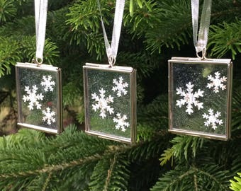 Silver Christmas Ornaments - Snowflake Decoration - Christmas Tree Decorations - Unique Christmas Ornaments - Xmas Ornaments - Set of 3
