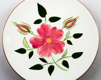 Vintage Kitchenware Pottery Mid Century Stangl Wild Rose Bread /& Butter Plate Retro Serving White w Pink Flowers