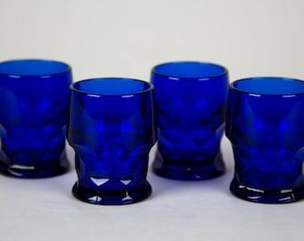 Fenton Georgian Cobalt Blue Whiskey Glasses Set of 4 Vintage Glass Barware