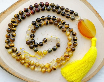 Golden Balance mala - moderation, creativity, awareness - 108 bead yoga inspired, boho necklace - Tiger's Eye, Citrine, Agate - gift for her