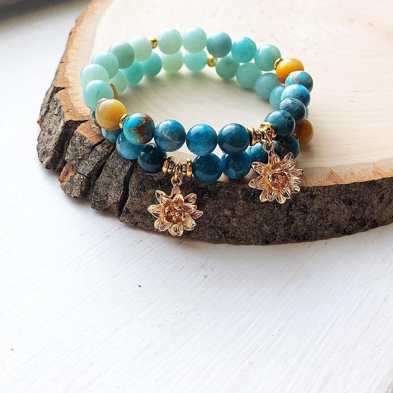 Apatite Gifts for her Jasper Lotus charm- Mala Yoga Inspired Boho Style Meditation Jewelry self expression Amazonite Padme Bracelet