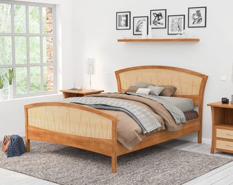 Solid Wood Bed Frame Queen, King or California King – Handmade Walnut and Curly Maple Bed Frame and Headboard and Footboard FREE US Shipping