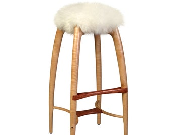 """Modern Counter Height Counter Stool, Bar Stool, Carved Solid Wood, Sheepskin Seat, Curly Maple, Bubinga, """"Tufted Crane"""""""