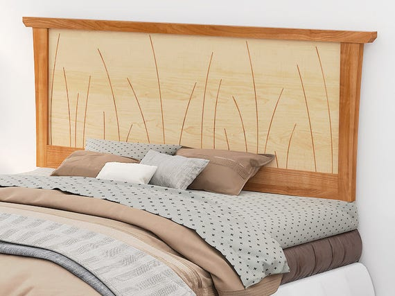 new style 707d4 5b1ea Headboard King Size Cherry, Bed, Solid Wood Headboard, Queen, Full, Twin,  California King, Curly Maple, Inlay