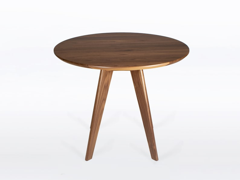 36 Inch Round Dining Table In Solid Natural Walnut Wood Seats 4 Ships Free