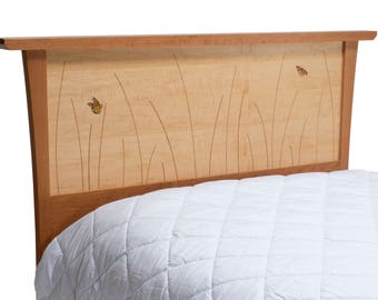 King Headboard Queen Headboard, Bed, Wood, Wooden, Cherry, Curly Maple, Butterfly Inlay