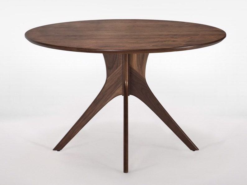 Small Round Pedestal Dining Table in Solid Walnut Wood \