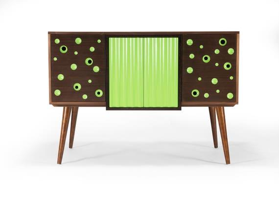 Modern Walnut Credenza Buffet Server Sideboard Lime Green | Etsy on modern daybed, modern recliner, modern commode, modern secretary, modern sideboard, modern entertainment center, modern tv, modern drawers, modern lamp, modern chaise lounge, modern desk, modern etagere, modern wall unit,