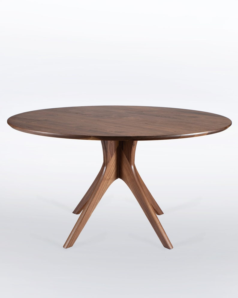 . Large Round Dining Table In Solid Walnut With Mid Century Modern Pedestal  Base  Seats Up To 8   Kapok
