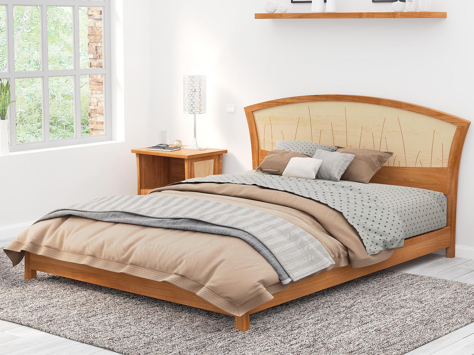 platform bed king size low modern bed frame handmade in solid etsy. Black Bedroom Furniture Sets. Home Design Ideas