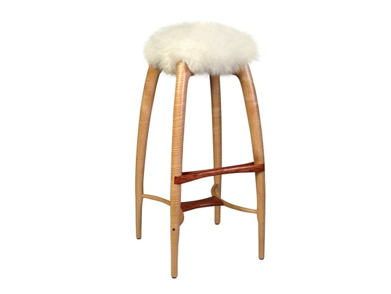 Enjoyable Modern Counter Height Counter Stool Bar Stool Carved Solid Wood Sheepskin Seat Curly Maple Bubinga Tufted Crane Bralicious Painted Fabric Chair Ideas Braliciousco
