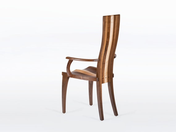 Wood Dining Chair In Solid Cherry Gazelle High Back With Arms