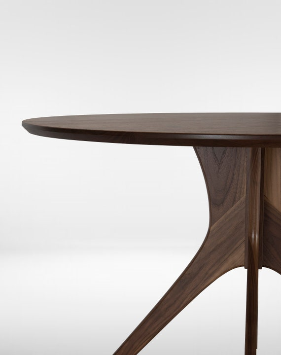 Round Dining Table With Mid Century Modern Pedestal Base, Small and Large  Sizes \