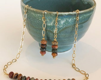 Elegant and Earthy Jasper Necklace and Earring Set