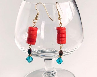 Coral and crystal boho earrings