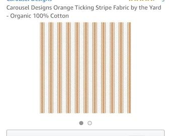 Custom listing for Orange ticking ruffled chair covers