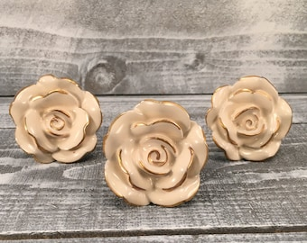 Knobs, Decorative Cream & Gold Rose Drawer Ceramic Knob, Instant Furniture Upgrade Ceramic Drawer Pulls, Item #500907840