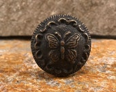 Butterfly Cast Iron Knob, Dresser Drawer Pull Metal Furniture Knob, Farmhouse Country Butterfly Knob, Cabinet Hardware Knobs and Pulls