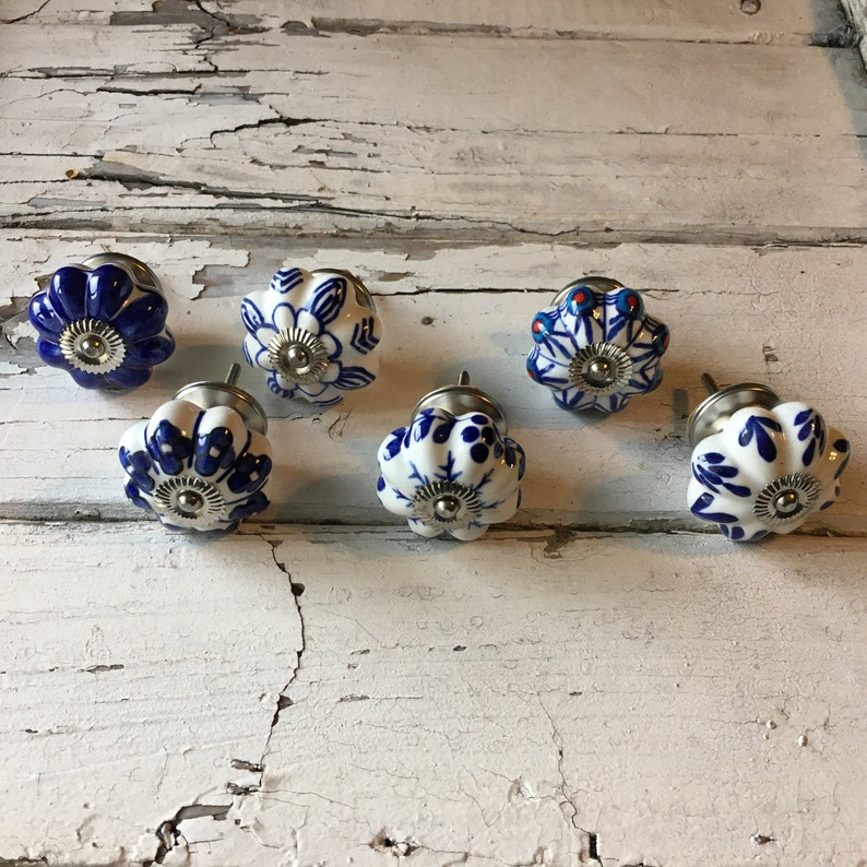 Cabinet Supplies Set of 6 Knobs Craft Supply Furniture Knob Item #497211132 Decorative Pumpkin Pulls Ceramic Hand Painted Drawer Pulls