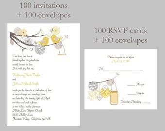 100 Personalized Custom Rustic Organic Botanical Love Bird Mason Jar Bridal Shower Rehearsal Wedding Invitations Announcement Cards Set