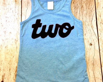 Blue Tank Top Two Boys 2nd Birthday Shirt Girls One Script In Black Ink Handmade 2 Year Old Party Ideas Cake Smash Summer Craft