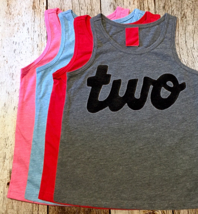 Blue Red Grey Pink Tank Top Two Boys 2nd Birthday Shirt Girls One Script In Black Ink Handmade 2 Year Old Party Ideas Cake Smash Summer