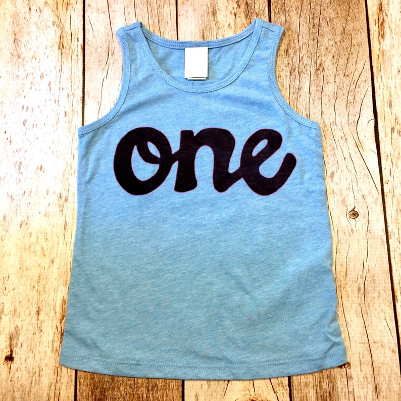 Blue Tank Top One Boys 1st Birthday Shirt Girls Script In