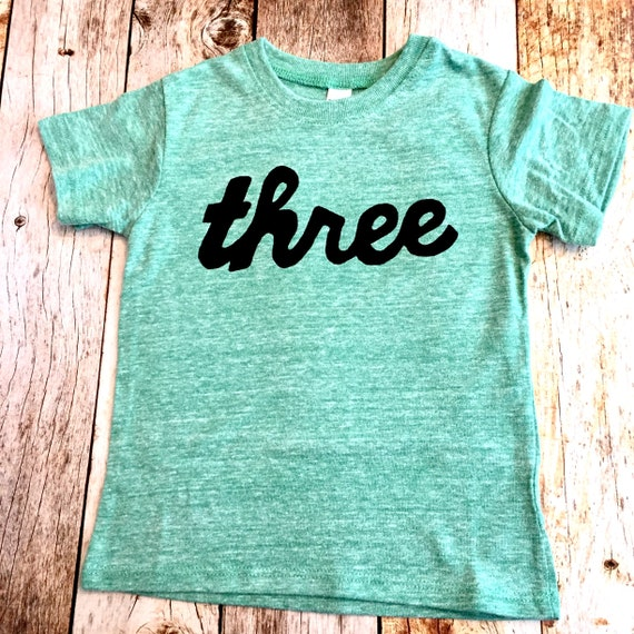 Green 3rd Birthday Shirt Girls Boys Three Script In Black Ink