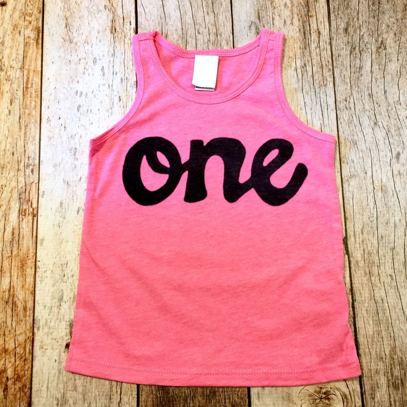 Pink Tank Top One Girls 1st Birthday Shirt Script In
