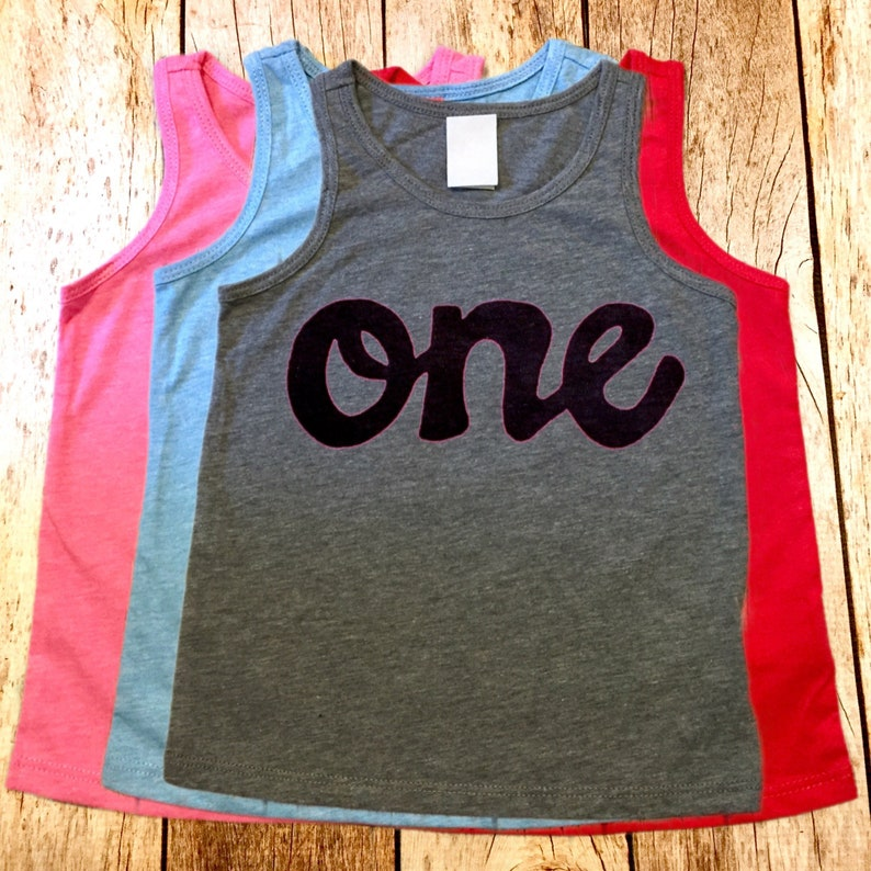 Blue Red Grey Pink Tank Top One Boys 1st Birthday Shirt Girls