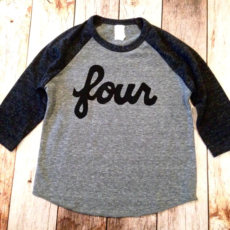 4 Year Old Birthday Four 4th Charcoal And Grey Baseball Raglan Sports Triblend Shirt Boys One Script In Black Ink Screen Girls Cake