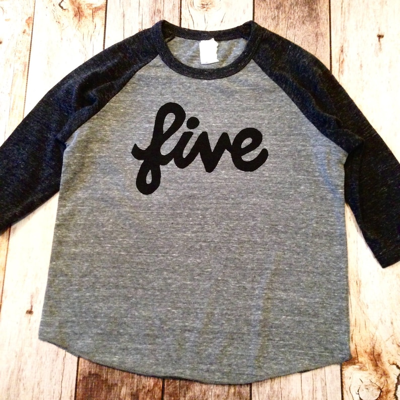 5th Birthday Shirt Five Outfit 5 Year Old Charcoal And Grey
