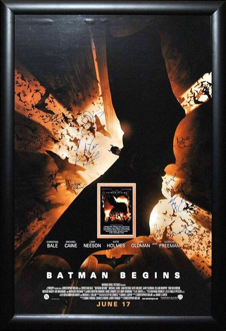 Batman Begins Signed By Cast Movie Poster In Wood Framed Case