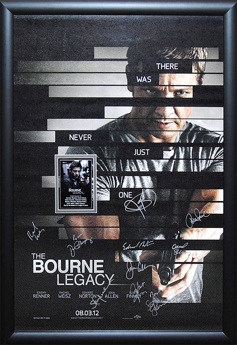 The Bourne Legacy Cast Signed Movie Poster Wood Framed